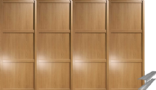 Shaker Style Oak Panel Door & Track Set to suit an opening width of 3607mm